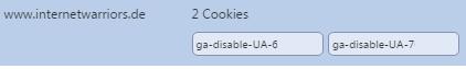 Überprüfung in Chrome, welche Cookies gesetzt wurden