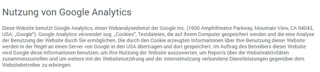 Auszug der Datenschutzseite zur Nutzung von Google Analytics der Internetwarriors GmbH