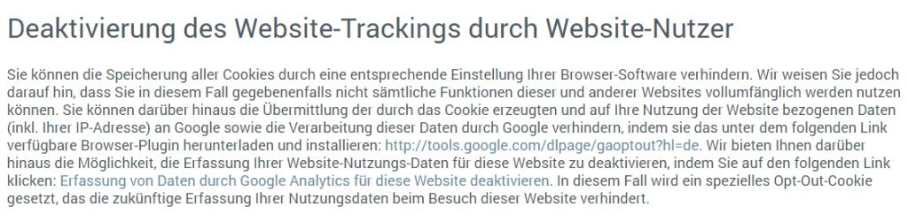 Auszug aus Datenschutzseite zur Deaktivierung des Website-Trackings durch Website-Nutzer