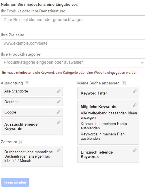 Screenshot Keyword Planer - Suchmaske