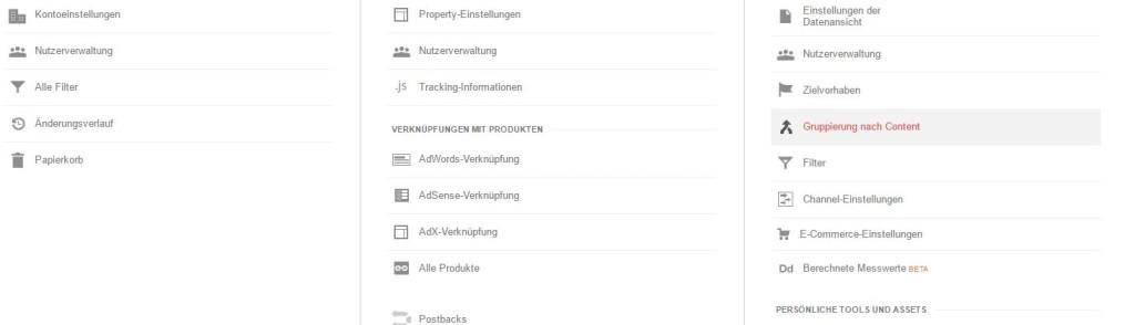 """Darstellung des Bereichs """"Verwalten"""" in Google Analytics"""