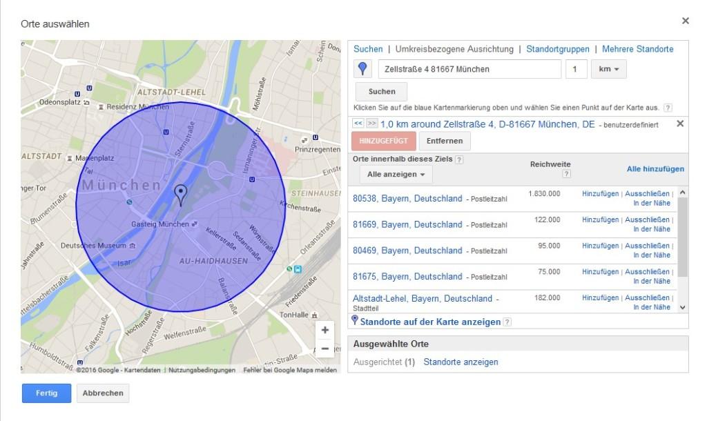 Darstellung einer Straßenkarte mit einem Standort und dem entsprechenden Ausspielradius für Google AdWords Kampagnen