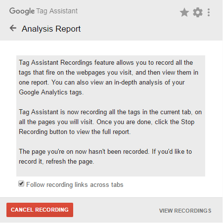 Google Tag Assisten Recording start