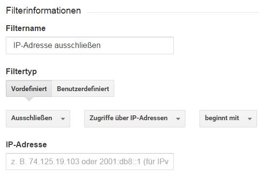 Filter IP-Adresse ausschließen einrichten