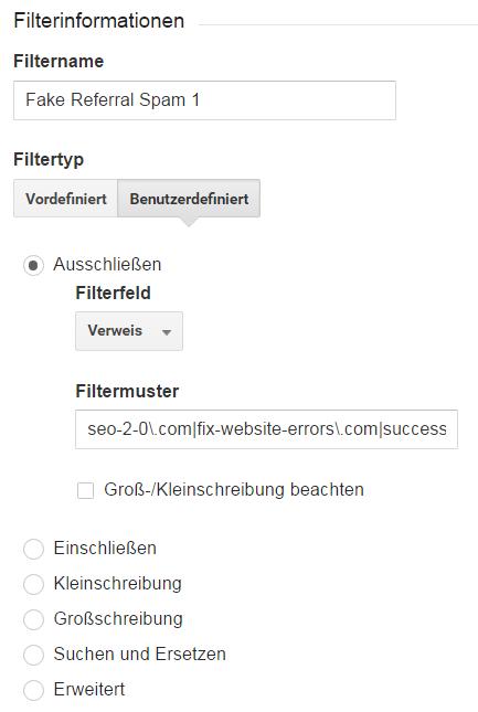 Filter Verweis-URL ausschließen einrichten