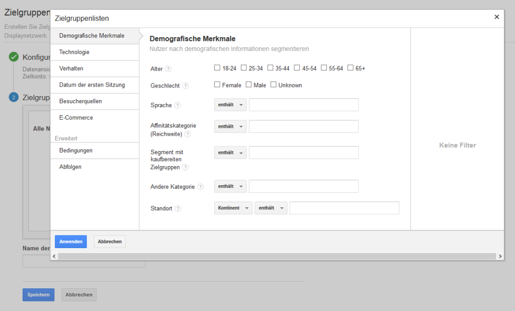 Erstellung einer Remarketing-Liste in Google Analytics