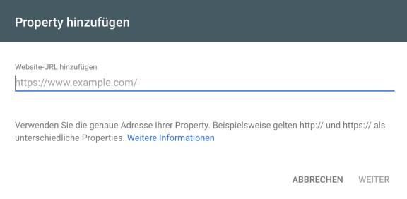 Geben Sie die Webseiten-URL ein, um eine neue Property in der Google Search Console hinzuzufügen.