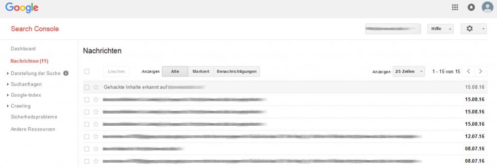 Search Console - gehackte Seite