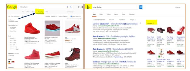 Abb. 3 Google Shopping Reiter Bing Shopping