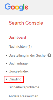 Abb.3: Hauptnavigation der Google Search Console