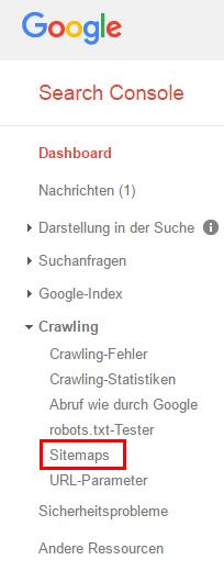 "Abb.4: Untermenü ""Crawling"" der Google Search Console"
