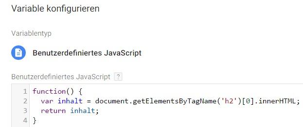 Benutzerdefiniertes JavaScript, um eine H2 Überschrift auszulesen
