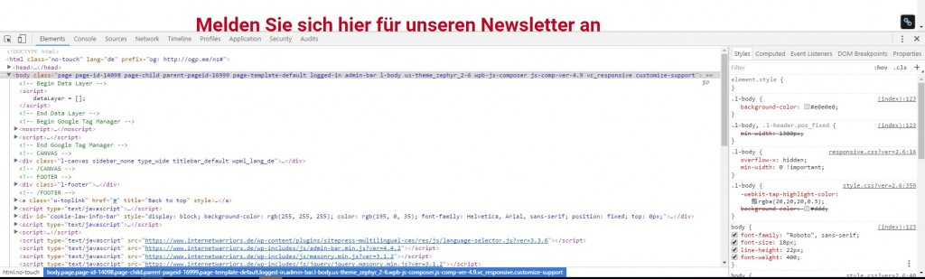 Konsole der Entwicklertools in Chrome