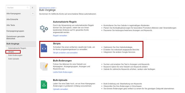 Skriptfunktion in AdWords