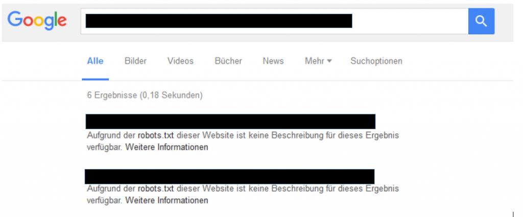 indexierte webseite ohne beschreibung aufgrund robots.txt