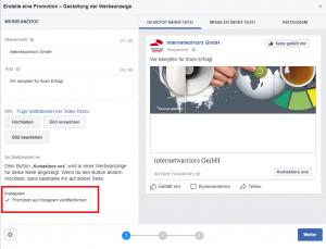 Instagam und Facebook Verknüpfung