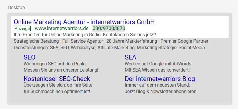 Die AdWords Textanzeige inklusive zugehöriger Anzeigenerweiterungen