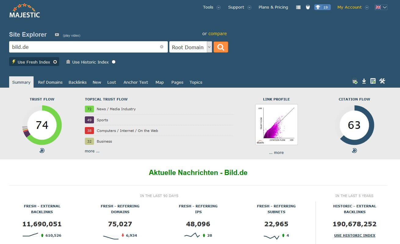 Majestic Linkbuilding Tool mit Trust Flow und Citation Flow