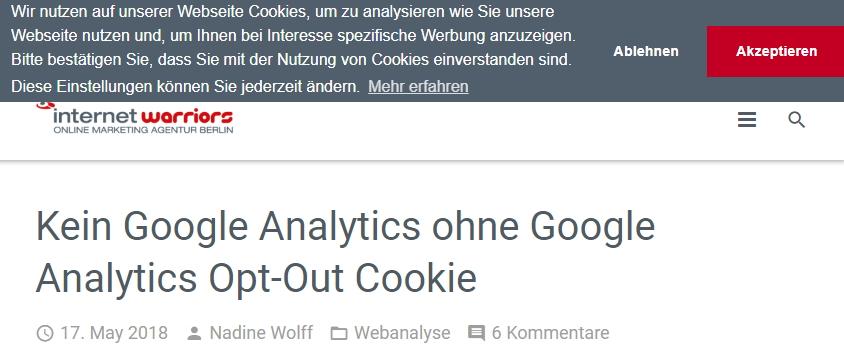 neuer Cookie Hinweis auf internetwarriors Webseite