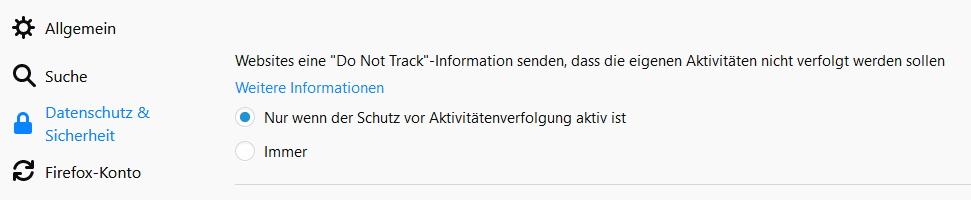 Do Not Track in den Firefox Einstellungen