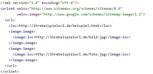 Code-Ausschnitt einer Bilder Sitemap