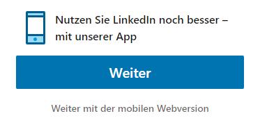 LinkedIn App Auswahl