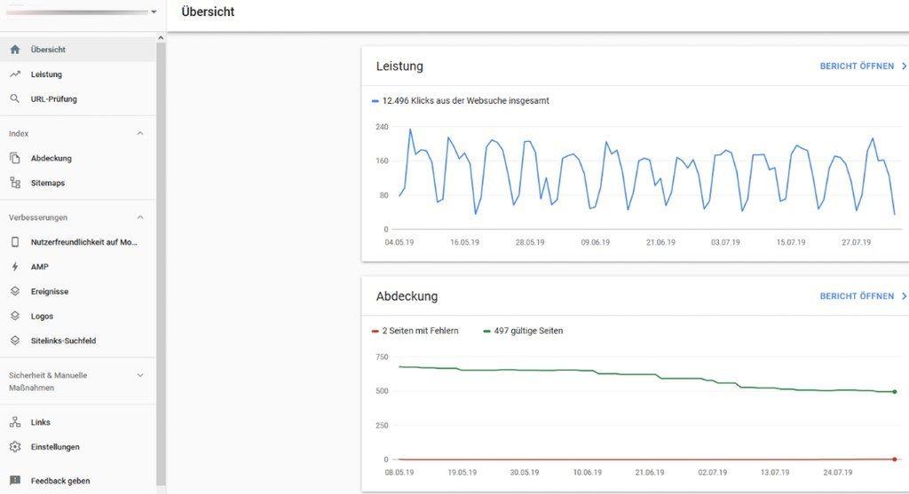 Neue Ansicht der Leistung und Indexabdeckung in der Goolge Search Console