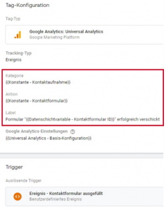 Tag Konfiguration auf Google Analytics