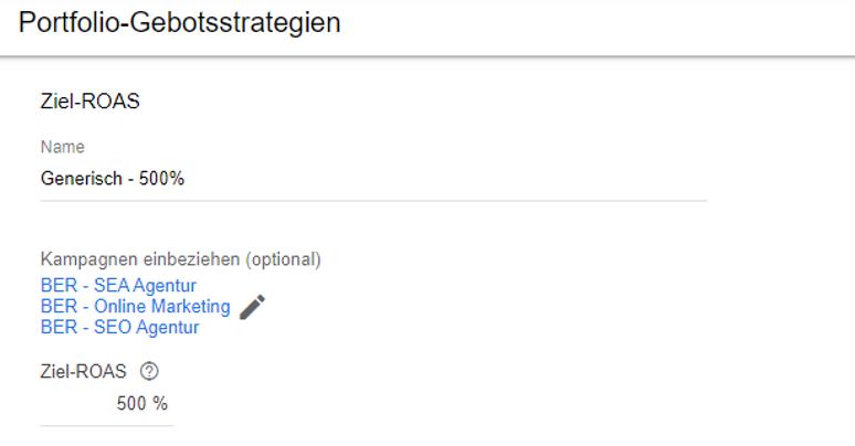 Google Ads Ansicht: ROAS